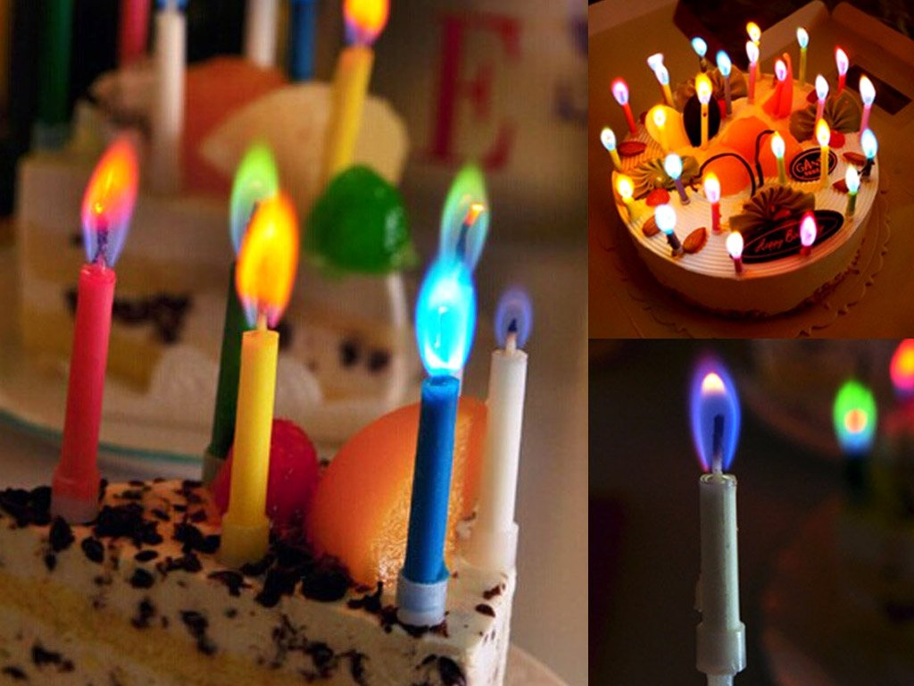 12 Birthday Candles With Multicoloured Flame FREE SHIPPING